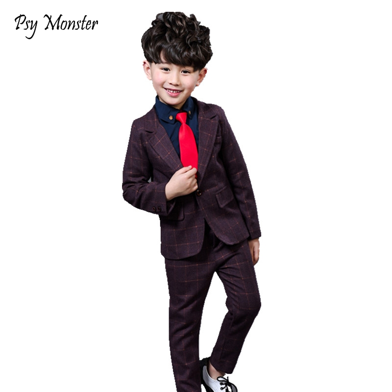 2018 New 2PCS Kids Plaid Wedding Blazer Suit Brand Flower Boys Formal Tuxedos School Suit Kids Spring Clothing Set A13