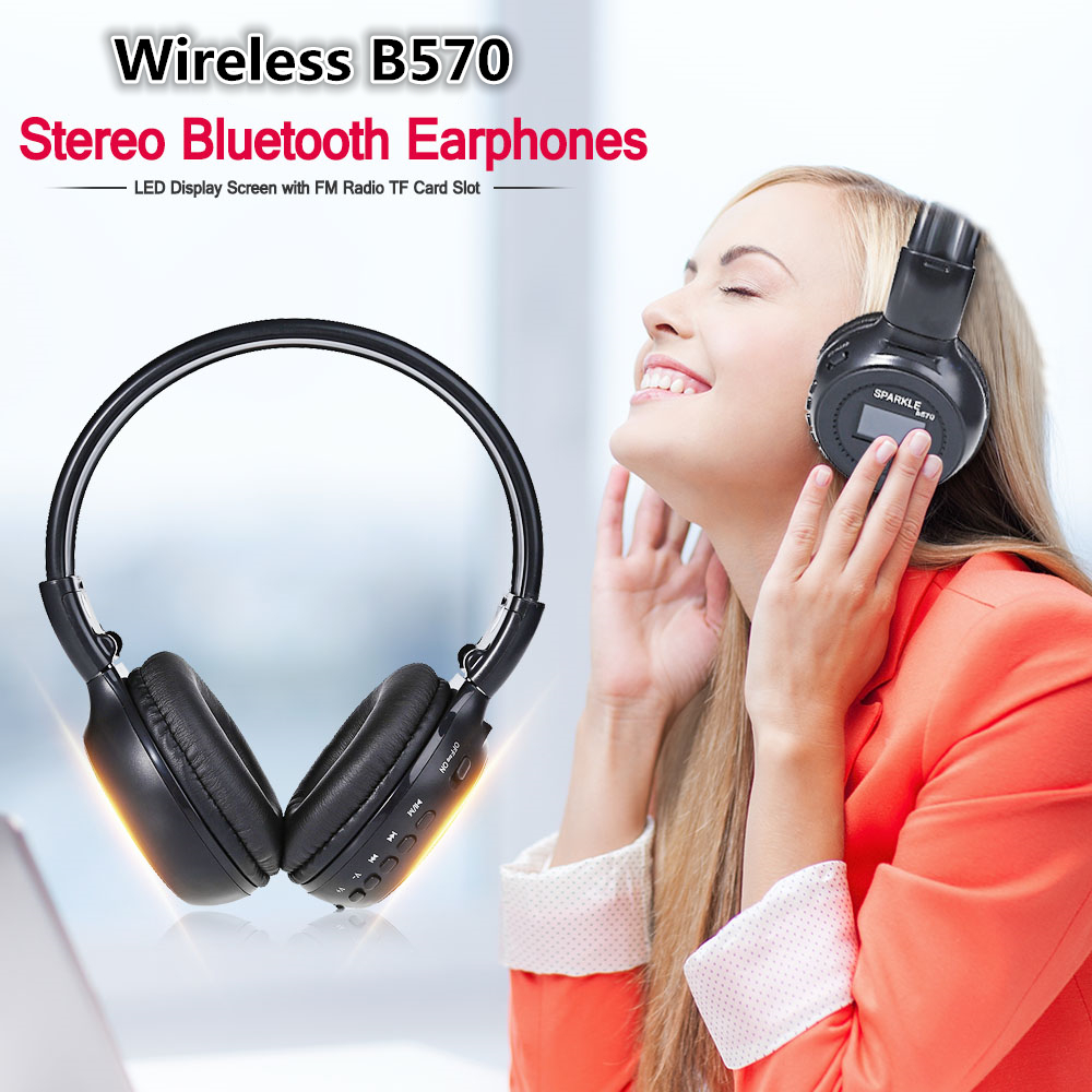 Zealot B570 Wireless Headset Foldable Hifi Stereo Bluetooth Headphone Earphone With LCD Display Screen FM Radio Micro-SD Slot