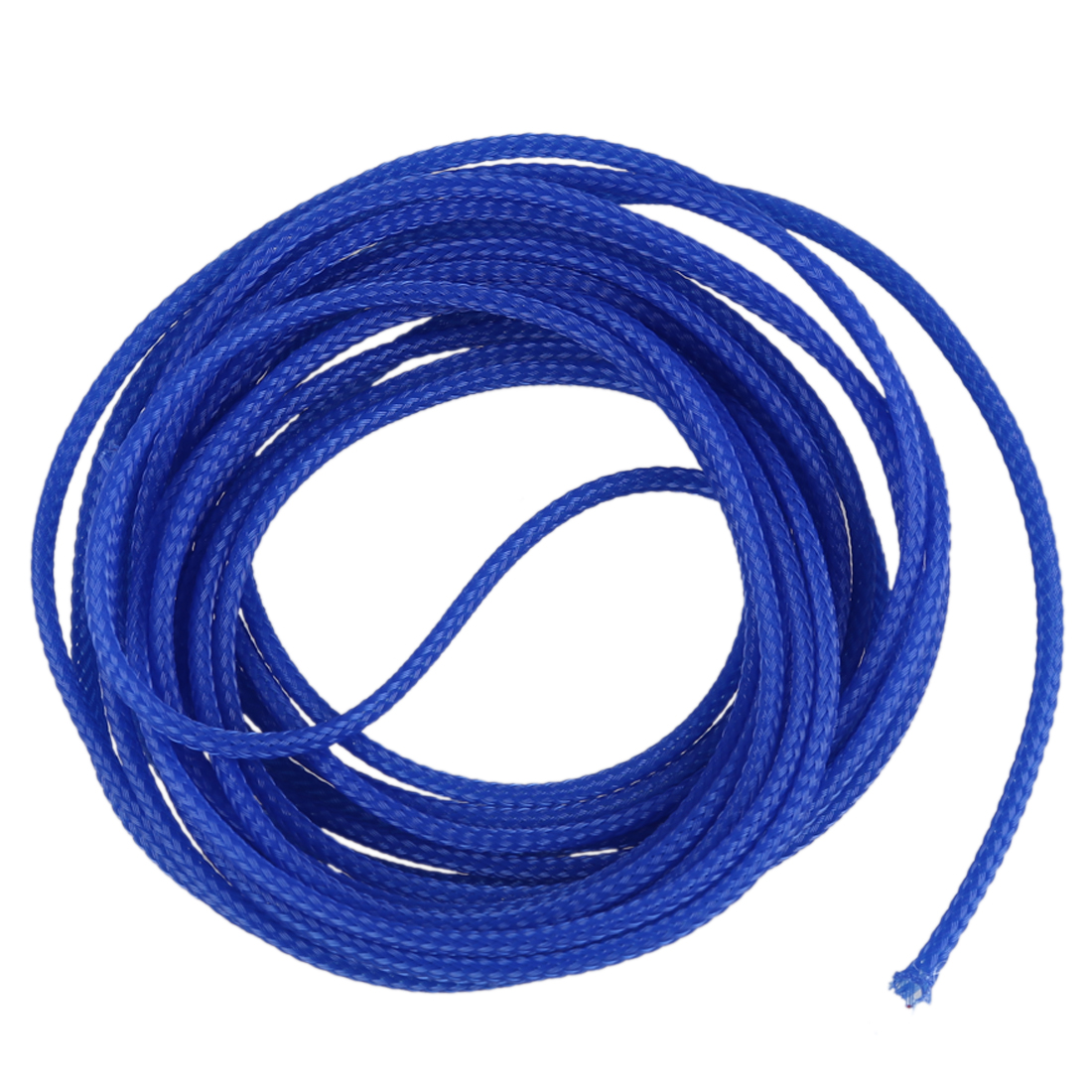 5M 4mm Expanding Braided Cable Wire Sheathing Sleeve Sleeving Harness Blue