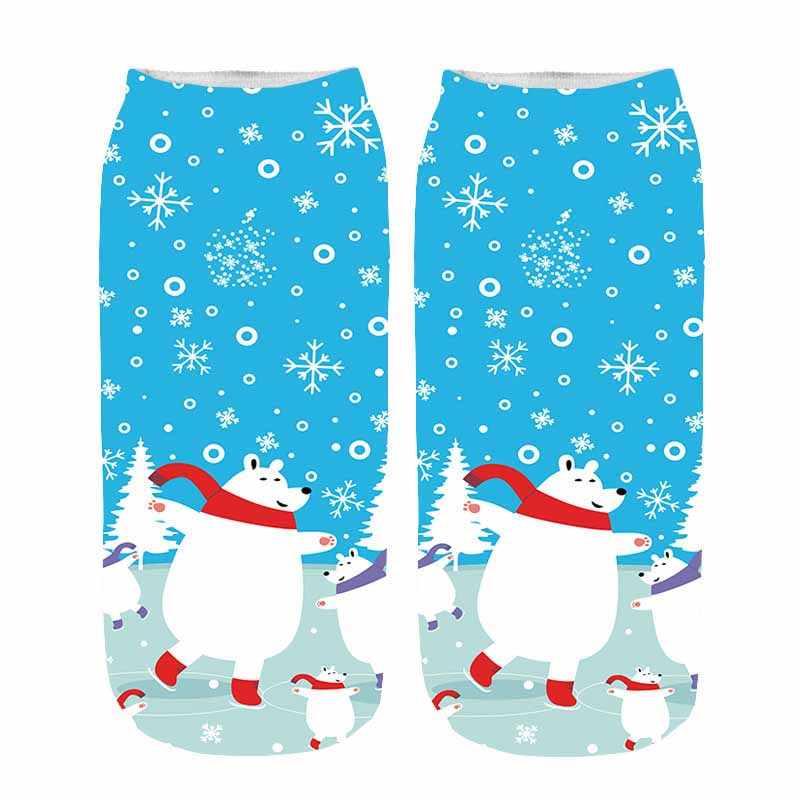 2019 الشتاء القطن مستقيم عيد الميلاد جورب الرجال النساء 3D الطباعة الكرتون الرنة سانتا كلوز ندفة الثلج قصيرة الجوارب الجوارب