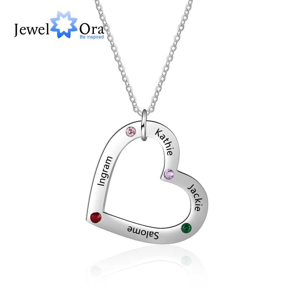 Niestandardowe 4 nazwy naszyjnik z Birthstone ze stali nierdzewnej serce wisiorek naszyjnik spersonalizowany prezent dla rodziny (JewelOra NE103249)
