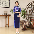 Shanghai Story Women Velvet Long Cheongsam Dress Three-quarters Sleeve Spring Autumn Chinese Tang Suit Tops Blue Qipao Dresses