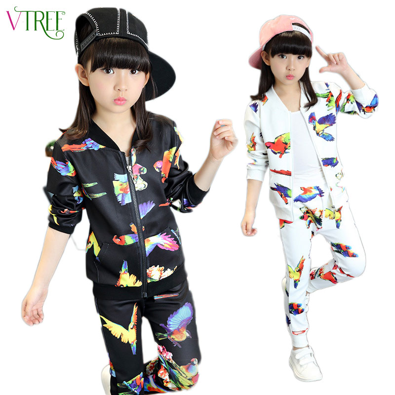 V-TREE 2017 Fall Girls Clothing Sets Zipper Coat+pants Sport Suit Cartoon Bird Kids Clothes Set Tracksuit For Children 8 10 12 teenage girls clothes sets camouflage kids suit fashion costume boys clothing set tracksuits for girl 6 12 years coat pants