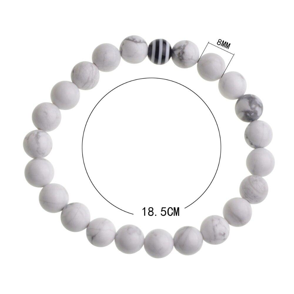 2pcs Couples Balance Jewelry Classic Black & White 8MM Natural Stone Beads Strand Distance Bracelets Lava Man Woman Gift