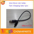 10pcs Black 25cm Micro  USB Cable Fast Charging Data Sync Transfer Cords For Samsung Galaxy HTC Free Shipping