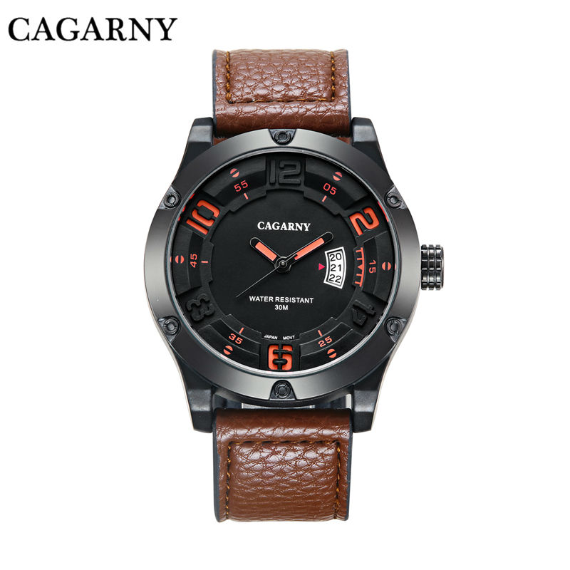 Luxury Watch Men Cagarny Mens Sports Watches Men's Quartz Wrist Watch Date Clock Man Leather Army Military Relogio Masculino New 5pcs free shipping pcm1704 ic sop20 new and orignal