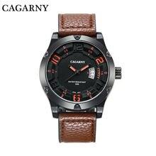 Montre de luxe Hommes Cagarny Mens Sport Montres Hommes de Quartz Montre-Bracelet Date Horloge Homme En Cuir Armée Militaire Relogio Masculino nouveau