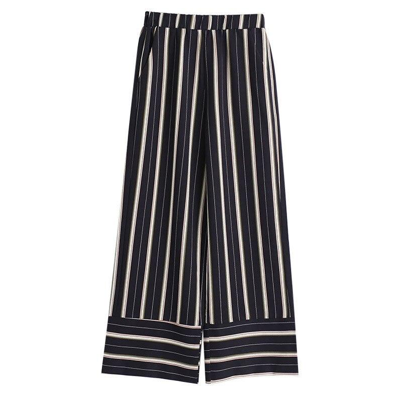 TWOTWINSTYLE Gestreiften Breite Bein Hosen Weibliche Hohe Taille Elastische Patchwork Tasche Lange Hosen Sommer Mode OL Frauen Kleidung