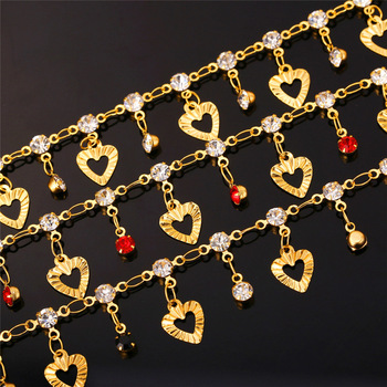 U7 Trendy Heart Anklet Summer Jewelry Gift Red Crystal Gold Color Ankle Foot Chain Bracelet For Women A301 5
