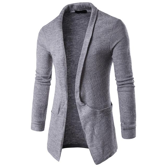 095ffa3d3511 Dropshipping Mens Plain Knitted Cardigan Men Long Sleeve Casual Slim Fit  Sweater Jacket Coat Tops Black Grey