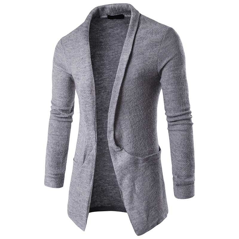 WSGYJ Mens Plain Knitted Cardigan Men Long Sleeve Casual Slim Fit Sweater Jacket Coat Tops Black Grey