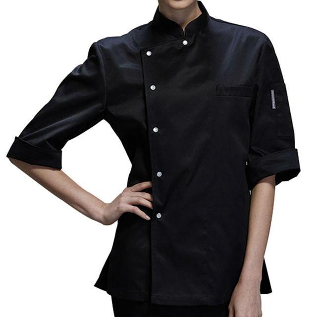 Female Black White Poly Cotton Short Sleeve Shirt Hotel Restaurant Chef Uniform B Catering Kitchen Staff Cook Work Wear B73