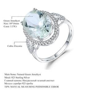 Image 5 - Женское кольцо с камнем GEMS BALLET, обручальное кольцо из стерлингового серебра 925 пробы с овальным натуральным зеленым прасиолитом, 5,57ct