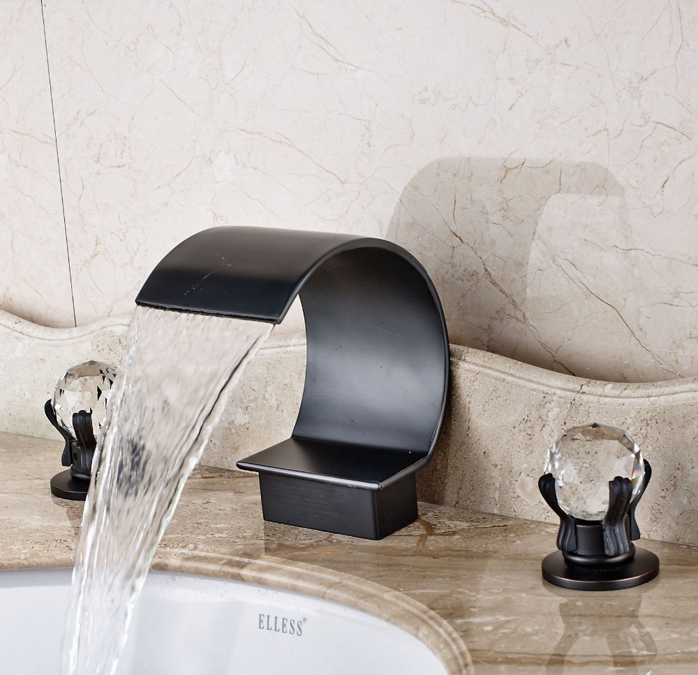 Luxury Bathroom Basin Faucet Oil Rubbed Bronze Vanity Sink Tap 3pcs Deck Mounted oil rubbed bronze bathroom sink faucet double handles widespread 3pcs basin mixer tap deck mounted