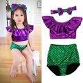 3 unids de Niño Bebé Niña Sirena Sirena Bikini Tankini traje de Baño Del Bowknot Diadema Conjunto