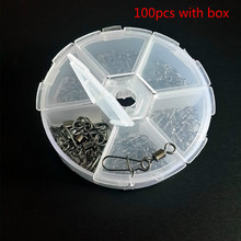 100pcs set Rolling Swivel With with Coastlock Snap 6 mixture Sizes Fishing Trackle font b Accessories