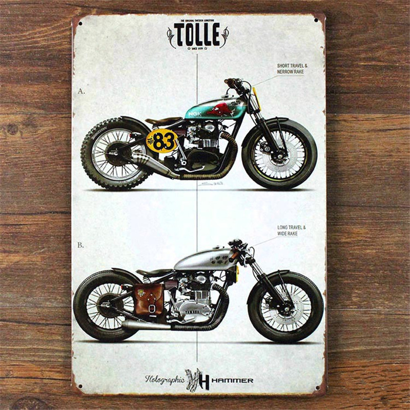 Vintage Motorcycle Home Decor 20 30cm Metal Tin Signs For Bar Vintage Decorative Plates Ly87241