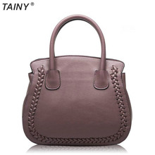 TAINY 2017 New Tainy Women Litchi Pattern Cowhide Leather Platinum Totes Handbags & Messenger Bags 24cm