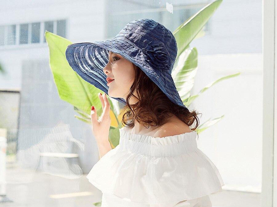165296e8883 Striped Wide Brim Beach Hats Ladies Floppy Summer Hat Flower Fashion ...