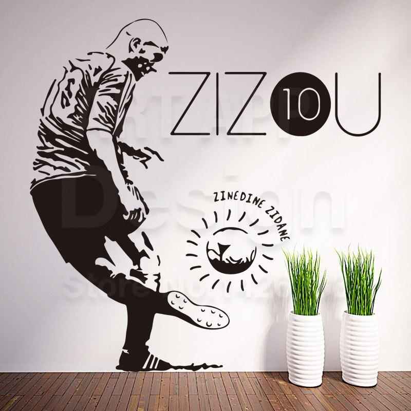 art cheap home decoration vinyl football zidane wall sticker