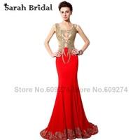 Ouro Laço Vermelho Vestidos de Noite Formal 2015 Real Photo Tribunal Trem Bordado Mermaid Evening Vestidos Backless Mulheres Vestidos SY005