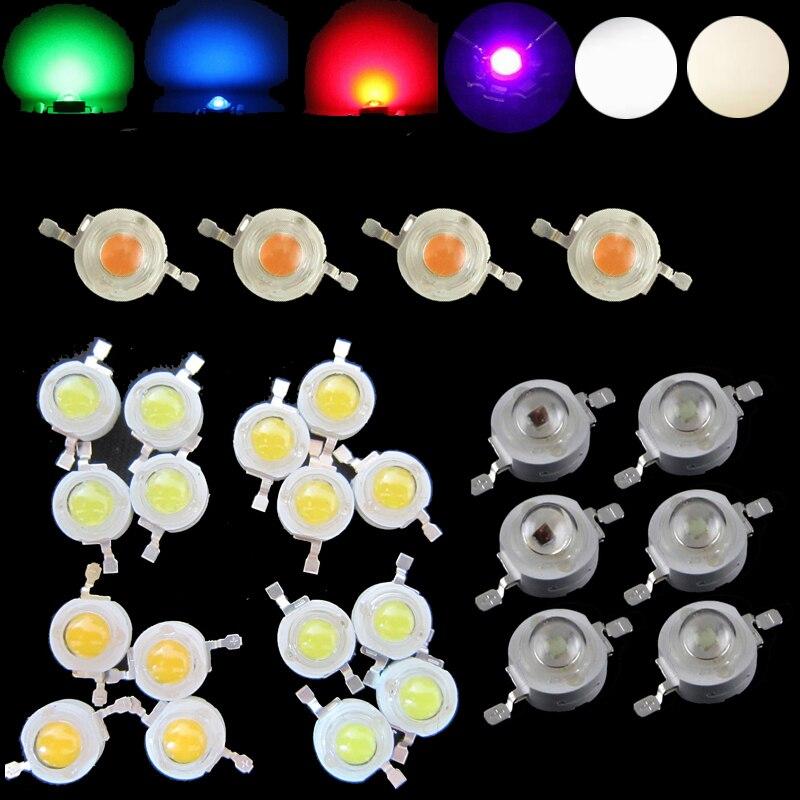 цена на 10pcs LED Diodes Light 2W 3W Watt Neutral Cool Cold Warm White Red 660nm Blue 445nm Green Yellow UV IR Full Spectrum Grow Light