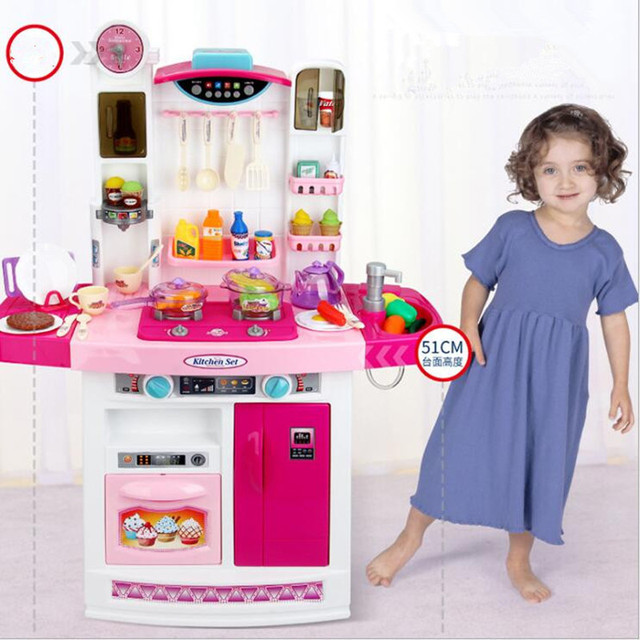 Us 40 8 23 Off Children S Real Life Big Kitchen Pretend Play Toys For Children Boy And Girl Cook Sound Light Real Water Meal Kitchen Playsets In