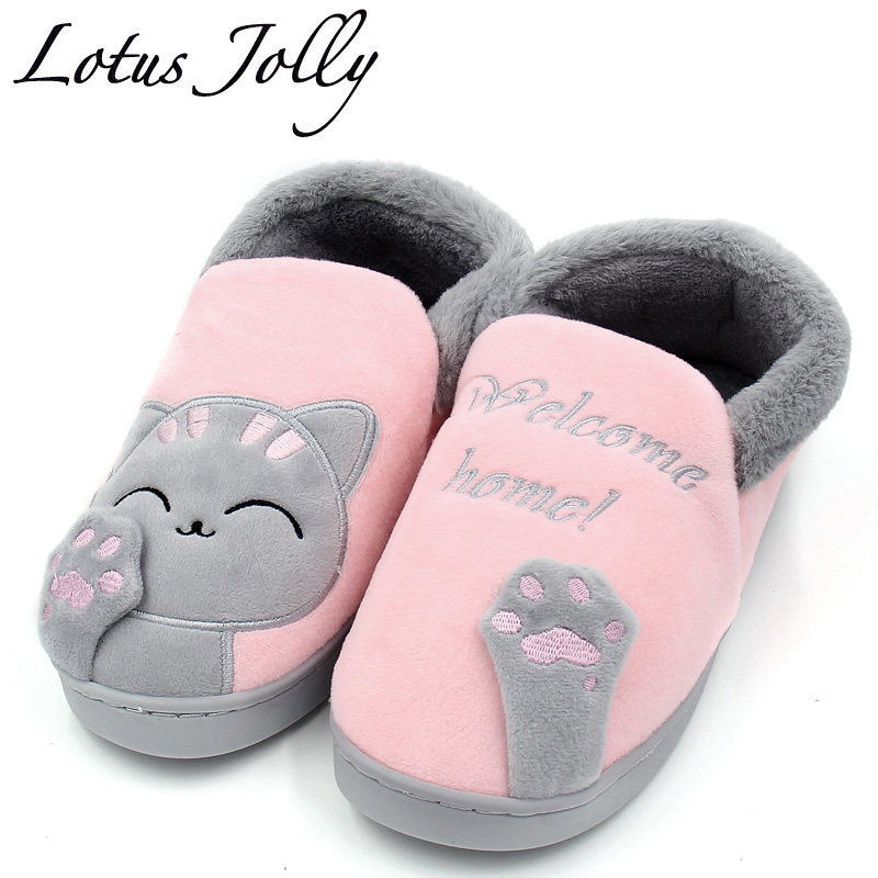цены Women Home Slippers Thick Plush Warm Indoor Shoes Non-slip Soft Bottom Lovers Couples Cartoon Cat Home Floor Shoes Plus size 44