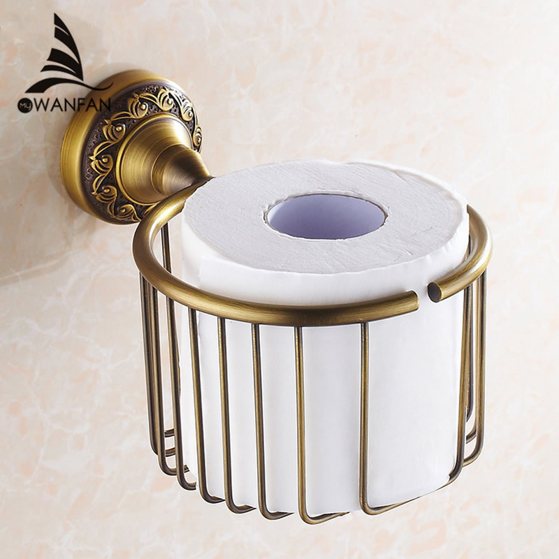 Paper Holders Antique Brass Wall Shelf Toilet Paper Roll Tissue Basket Shampoo Storage Bathroom Accessories Paper Rack 3722 gold crystal wall mounted toilet paper holders brass wc roll paper tissue basket bathroom accessories