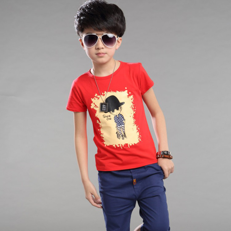 kids sport sets 2019 summer t shirt pants black red blue cartoon print cotton boys suit children summer clothes outwear in Clothing Sets from Mother Kids