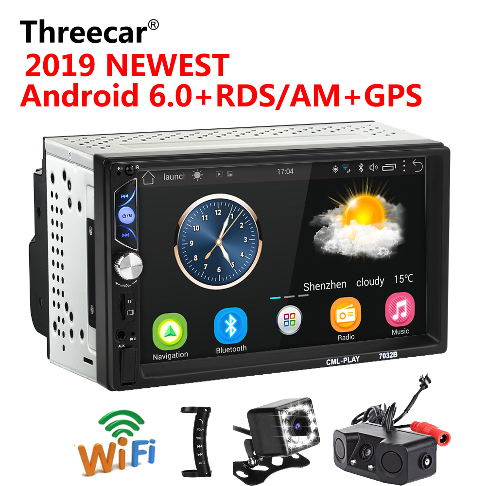Car Intelligent System 7 Inch Android Car Radio Stereo Rds Gps Navigation Bluetooth Usb Sd 2 Din Touch Car Multimedia Player Audio Player Autoradio
