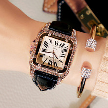 купить 2019 Luxury Brand Lady Crystal Watch Women Dress Watch Fashion Rhinestone Quartz Watches Female Leather Strap Wristwatches по цене 586.18 рублей