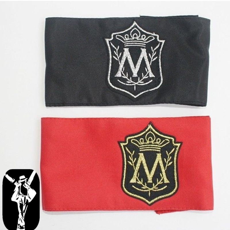 2PCS In Memory MJ Michael Jackson Classic M Letter Red Black Printing Arm-band