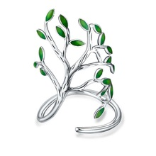 JEXXI 925 Sterling Silver Drop Glaze Leaves Open Rings For Women Handmade Prevent Allergy Sterling-silver-jewelry Ring