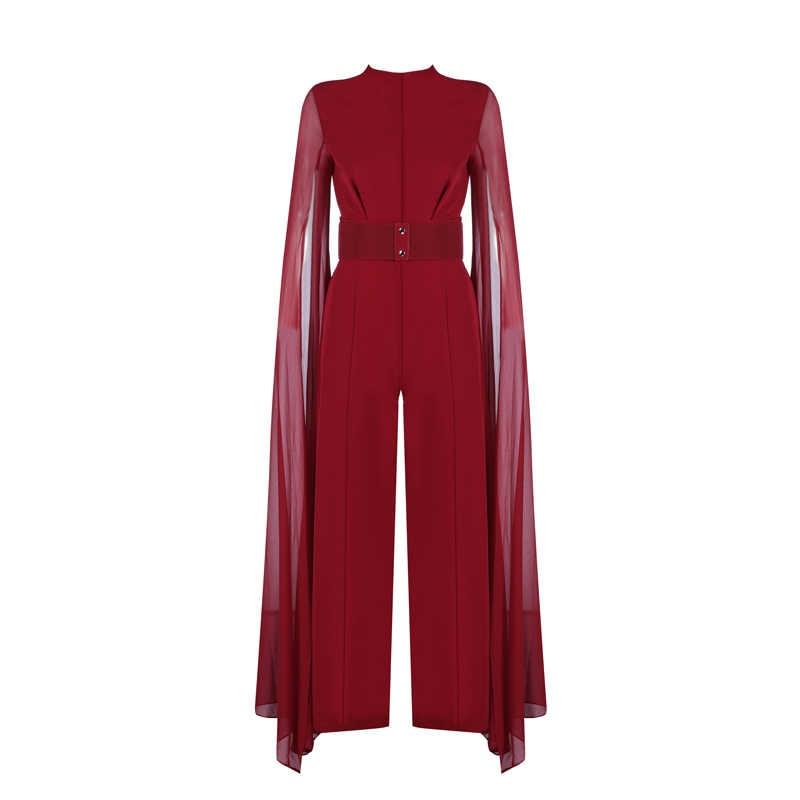52974ca8df5 ... Новая мода Albumn Показ коллекции Стиль роскошные повязки Для женщин  выпускного вечера вечерние комбинезоны красные