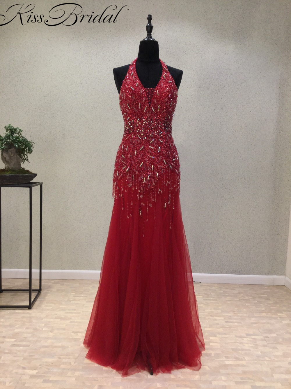 New Fashion Long Red   Evening     Dresses   2018 Sexy Backless Halter Women Party Gown With Beading