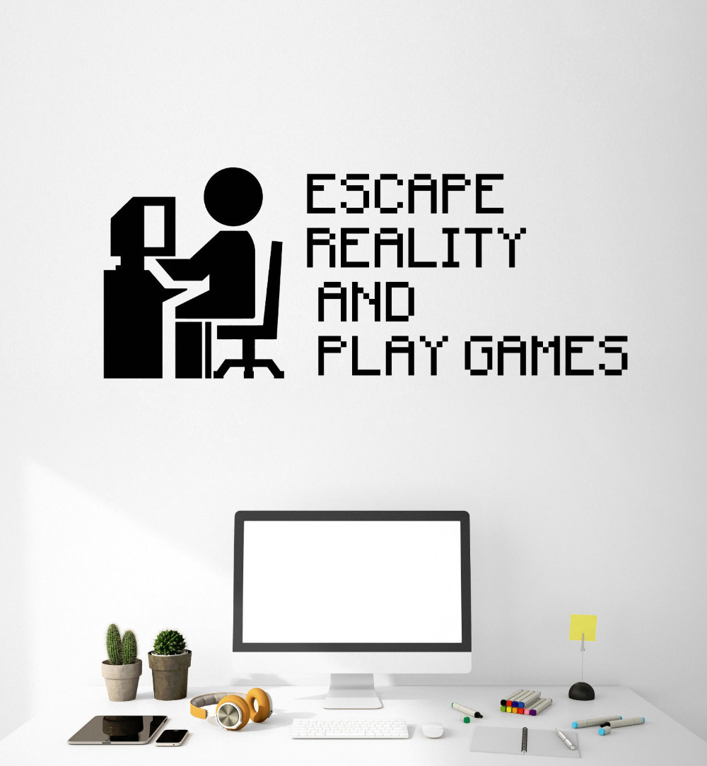 Gamer Quote Vinyl Wall Decal Video Game Gaming Pixel Art Stickers ...