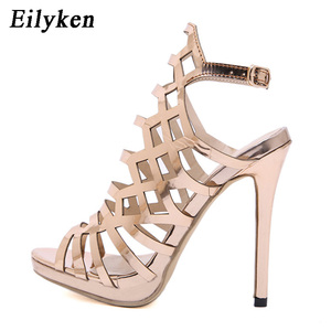 Image 3 - Eilyken 2020 חדש עיצוב פתוח ToeThin עקבים גלדיאטור לנשים סנדלי שמפניה אופנה אבזם חזרה רצועת גבירותיי נעליים