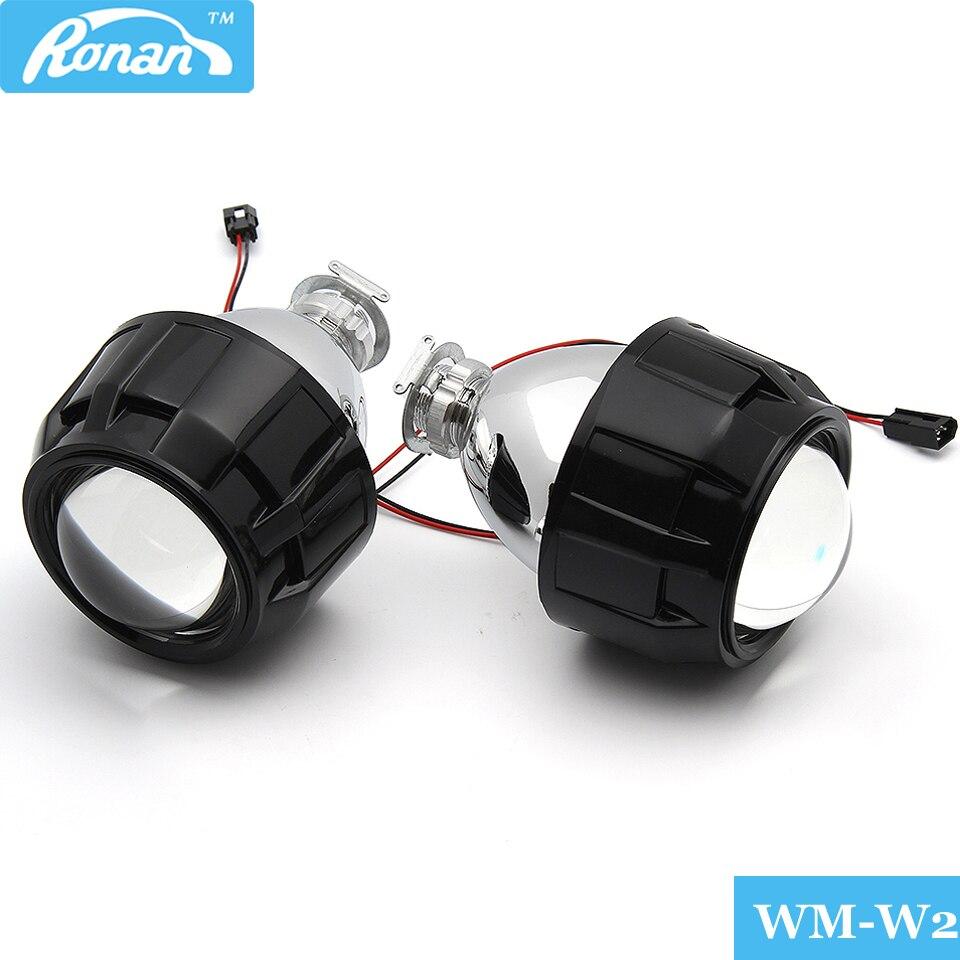 RONAN 2Pcs 2.5 Inch Universal Bixenon HID Projector Lens Silver Black Shroud H1 Xenon LED Bulb H4 H7 Motorcycle Car Headlight