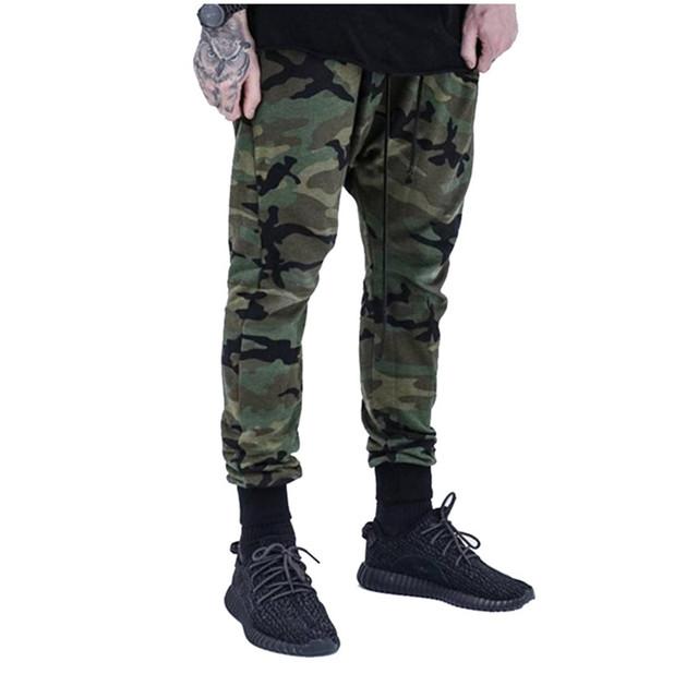 2016 Nuevos Mens de Camuflaje Pantalones Basculador Hip Hop Mens Harem Tiro Caído Pantalones Pantalones Lápiz Z1381