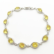 AAA Zircon Stone 10KT White Gold Filled Charm Bracelet Fashion Jewelry Bracelets Gold yellow High Quality