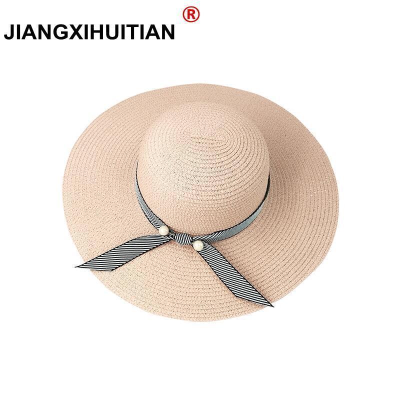 nyár Gyöngyök szalmakalap nők széles széles karimájú kalap - Ruházati kiegészítők