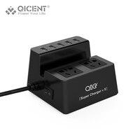 QICENT BP Original Smart Power Socket Tira Adaptador de Enchufe Portable con 5 Puerto USB Multifuncional 2 Extensión Toma De Corriente Del Enchufe Del Zócalo