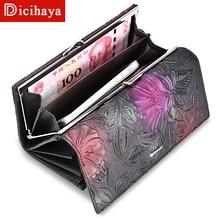 New Arrive Ladies Wallets Genuine Leather Women Long Purse Flower Embossing Female Hasp Wallet Money Clips Woman Cards