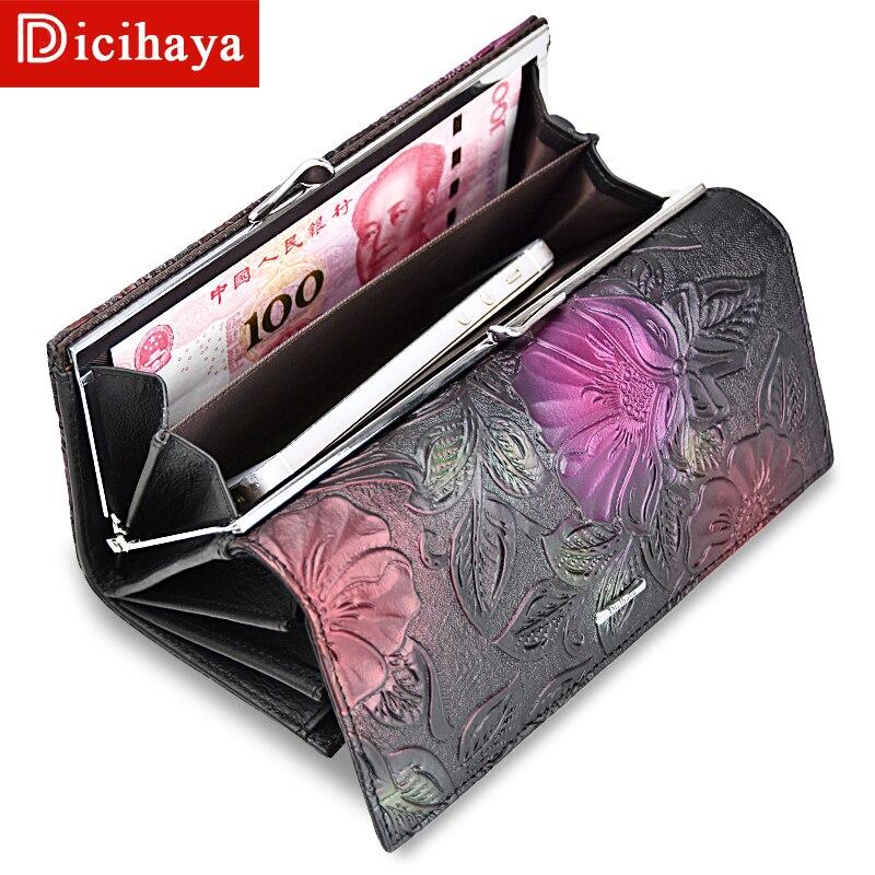 Nuevo monedero de cuero para mujer, cartera larga con estampado de flores, cartera con broche para mujer, cartera con Clips para dinero, monedero para tarjetas A142-911