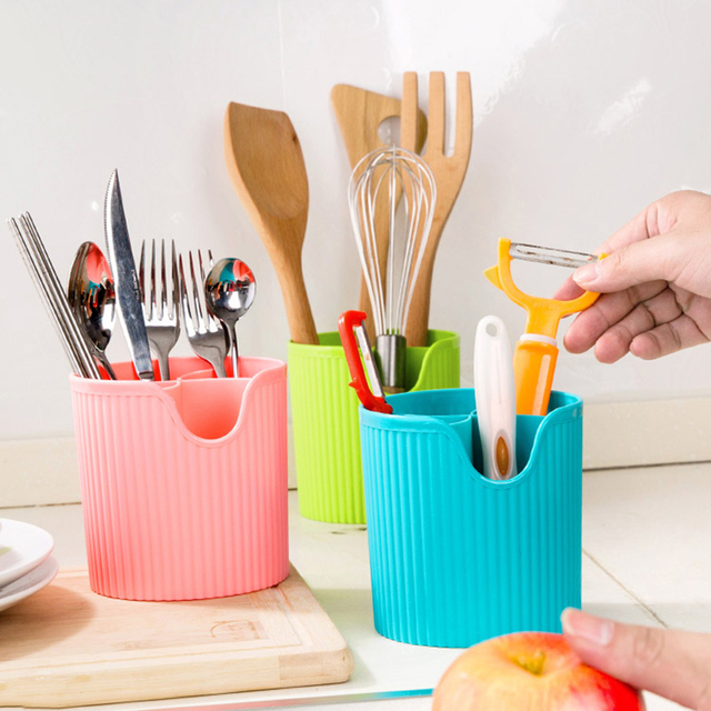 Great New Cute Bathroom Kitchen Accessories Organizer Tableware Storage Tube  Drainer Plastic Chopsticks Tube Cutlery Storage Box