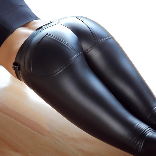 2016 New Womens Peach Hip Leggings Sexy Push Up Pants Elastic PU Leather Pants Leggings Trousers Low Waist Black Leggings Women