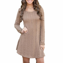 style elegant office lady solid mini woman dresses Europe plus size o-neck long sleeve a-line empire female