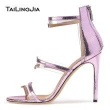 35331ca6e PVC Sandálias de Tiras de Salto Alto Roxo Plexi Sliver Vestido Sapatos  Mulheres Negras Nuas Sapatos