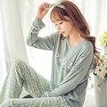 Lujo elegante 2016 moda mujeres de manga larga pijama de seda de la leche de primavera y otoño niña pantalones de chándal para las mujeres pijamas traje